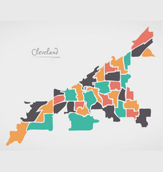 Cleveland ohio map with neighborhoods and modern vector