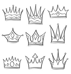 collection crown various doodle set vector image