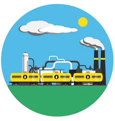 Colorful factory with train picture in round vector