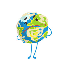 Cute skeptical cartoon earth planet character with vector