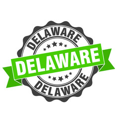 Delaware round ribbon seal vector