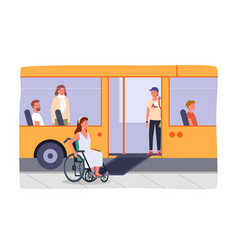 Disabled girl in wheelchair at bus stop bus vector