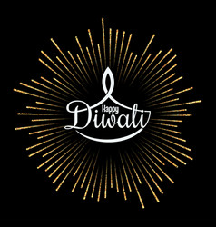 diwali lamp golden light design background vector image