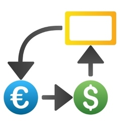 Dollar Euro Flow Chart Gradient Icon vector image