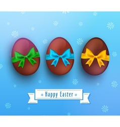 Easter chocolate egg with ribbon on blue vector