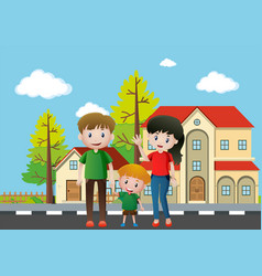 family members standing in front of the house vector image