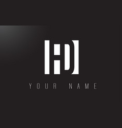 fd letter logo with black and white negative vector image