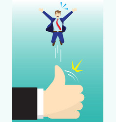 Giant hand flicking businessman up high by thumb vector