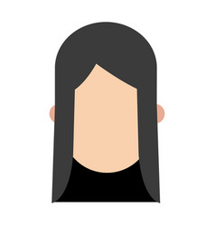 Girl black hair faceless people character image vector