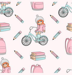 girl on bike school seamless pattern vector image