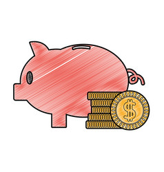 grated piggy to save money and coins cash currency vector image
