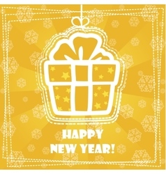 Greeting card Happy New Year gift vector