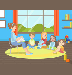 group kids sitting on floorteacher sitting on vector image