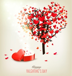 Heart shaped tree and a gift box Valentines day vector image