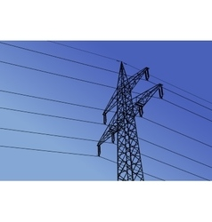 high voltage towers with sky background vector image
