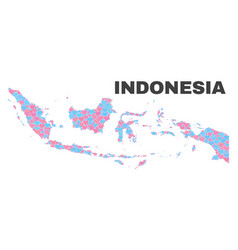 Indonesia map - mosaic of love hearts vector