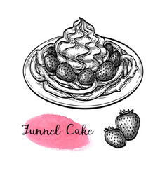 ink sketch funnel cake vector image