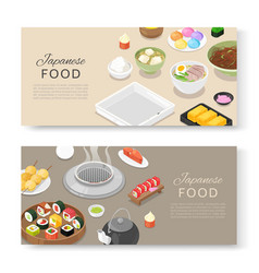 japanese food banners set asian cuisine with sushi vector image