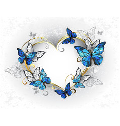 Jewelry heart with butterflies morpho vector