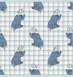 Kawaii cartoon elephant seamless pattern cute vector
