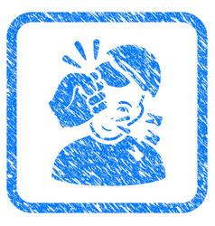 Kickboxer framed stamp vector