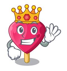King the shaped heart ice cream mascot vector