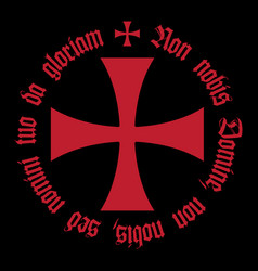 Knightly design with templar cross and crusader vector