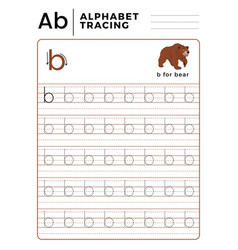 Letter b alphabet tracing book with example vector