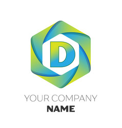letter d logo symbol on colorful hexagonal vector image