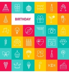 Line Birthday Icons vector image