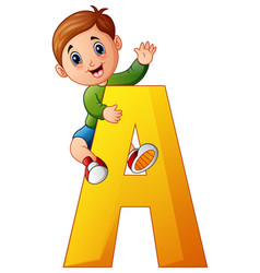 Little boy holding letters a vector