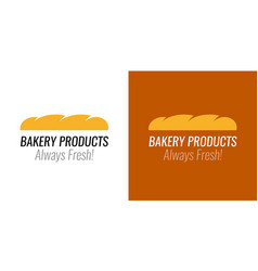 Logo with loaf bread for bakery products shop vector