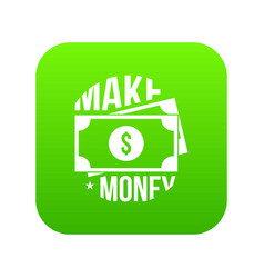 make money icon green vector image
