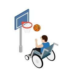 Man in a wheelchair playing basketball icon vector