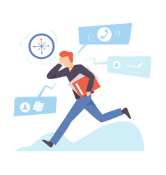 Man runs with a folder and clings to his head vector