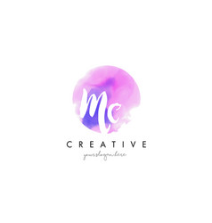 Mc watercolor letter logo design with purple vector