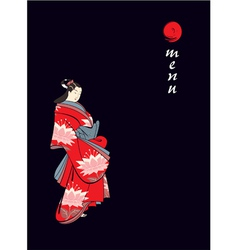 Menu cover with japanese geisha vector