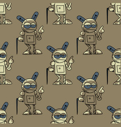 Old robot seamless pattern vector