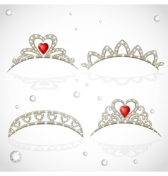 Openwork jewelry tiaras with diamonds and faceted vector image