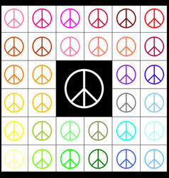 peace sign felt-pen 33 vector image