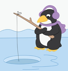 Penguin Goes Fishing vector