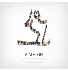 people sports biathlon vector image