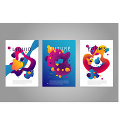 Posters set with abstract liquid forms vector