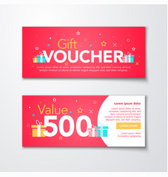 red gift voucher template with modern pattern vector image