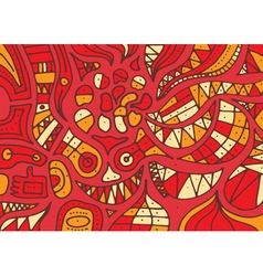 Red hand drawn pattern with lines vector image