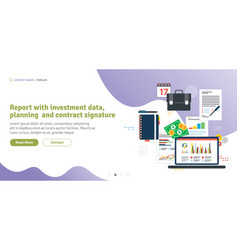 Report with investment data planning and contract vector