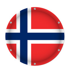 round metallic flag of norway with screws vector image