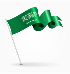 Saudi arabian pin wavy flag vector
