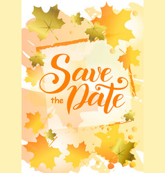 Save the date in orange on background decorated vector