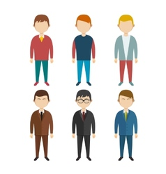 Set flat human characters young men on white vector